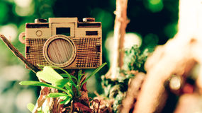 Ξύλινη κάμερα παιχνιδιών Στοκ Εικόνα