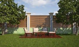 Χαλαρώστε στον κήπο στην ηλιόλουστη ημέρα ελεύθερη απεικόνιση δικαιώματος