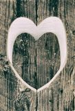 Ξύλινη καρδιά αγάπης γραπτή Στοκ εικόνα με δικαίωμα ελεύθερης χρήσης