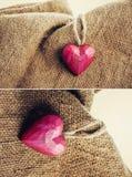 Ξύλινη καρδιά στη γιούτα Στοκ εικόνες με δικαίωμα ελεύθερης χρήσης