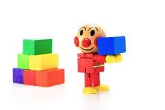 Ξύλινη κούκλα με το ορθογώνιο κιβώτιο Στοκ εικόνα με δικαίωμα ελεύθερης χρήσης