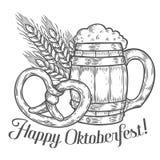 Ξύλινη κούπα μπύρας τεχνών, pretzel, σίτος Ευτυχές πιό oktoberfest μαύρο χαραγμένο τρύγος χέρι ελεύθερη απεικόνιση δικαιώματος
