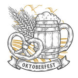 Ξύλινη κούπα μπύρας τεχνών, pretzel, σίτος Ευτυχής πιό oktoberfest απεικόνιση αποθεμάτων