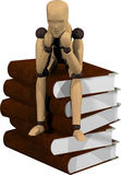 Ξύλινη μαριονέτα με τα βιβλία Στοκ Εικόνες