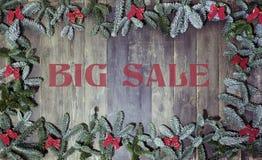 Ξύλινη μεγάλη πώληση Χριστουγέννων υποβάθρου Στοκ εικόνες με δικαίωμα ελεύθερης χρήσης