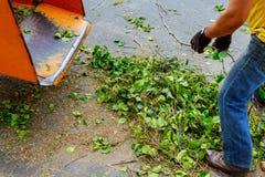 Ξύλινη μηχανή πελεκιών που απελευθερώνει τα τεμαχισμένα ξύλα σε ένα φορτηγό στοκ εικόνες