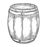 Ξύλινη μπύρα τεχνών, ουίσκυ, βαρέλι οινοπνεύματος κρασιού Καφετί χαραγμένο τρύγος χέρι που σύρεται διανυσματική απεικόνιση