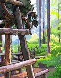 Ξύλινη δομή στο ηλιόλουστο θερινό δάσος Στοκ φωτογραφία με δικαίωμα ελεύθερης χρήσης
