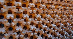 Ξύλινη δομή φραγμών της πρόσοψης τοίχων Στοκ φωτογραφία με δικαίωμα ελεύθερης χρήσης
