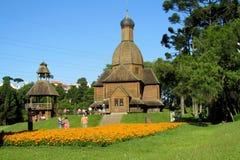 Ξύλινη Ορθόδοξη Εκκλησία στην πόλη Curitiba, Βραζιλία Στοκ Εικόνες