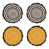 Ξύλινη περικοπή ενός κούτσουρου δέντρων με τα ομόκεντρα δαχτυλίδια ελεύθερη απεικόνιση δικαιώματος