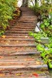 Ξύλινη πορεία στο εθνικό πάρκο Plitvice το φθινόπωρο Στοκ Φωτογραφία