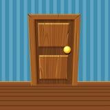 Ξύλινη πόρτα κινούμενων σχεδίων, εγχώριο εσωτερικό Στοκ Εικόνες