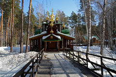 Ξύλινη ρωσική ορθόδοξη χριστιανική εκκλησία του Άγιου Βασίλη στο μοναστήρι Ganina Yama Στοκ Εικόνα