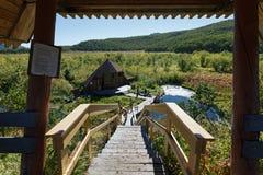Ξύλινη σκάλα που οδηγεί στα καυτά ελατήρια, θερμικές λίμνες στοκ φωτογραφία