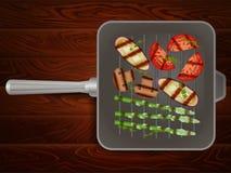 Ξύλινη σύσταση θυμαριού διατροφής λαχανικών σχαρών παν Στοκ εικόνα με δικαίωμα ελεύθερης χρήσης