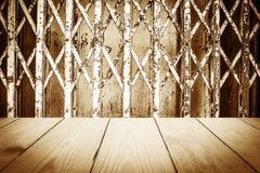 Ξύλινη σύσταση στην παλαιά πόρτα χάλυβα για το υπόβαθρο Στοκ Εικόνες