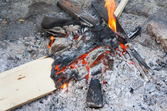 Ξύλινη φωτιά που κρατά θερμή το χειμώνα Στοκ εικόνες με δικαίωμα ελεύθερης χρήσης