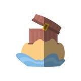 ξύλινη χρυσή σκιά άμμου θησαυρών θωρακικών πειρατών απεικόνιση αποθεμάτων
