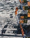 Ξύλινοι καρέκλες και πίνακες στον καφέ πάρκων Στοκ Εικόνες