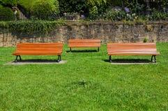Ξύλινοι πάγκοι στο πάρκο Στοκ Εικόνες