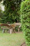 Ξύλινοι πίνακας και κήπος καρεκλών Στοκ Εικόνα
