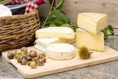 Ξύλινος δίσκος με τα διαφορετικά γαλλικά τυριά Στοκ Φωτογραφίες