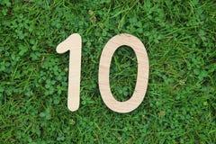 Ξύλινος αριθμός 10 στο υπόβαθρο χλόης και τριφυλλιού Στοκ φωτογραφία με δικαίωμα ελεύθερης χρήσης