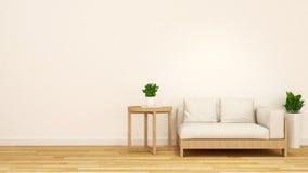 Ξύλινος και άσπρος καναπές με το τραπεζάκι σαλονιού και την εγκατάσταση-τρισδιάστατη απόδοση Στοκ Εικόνες