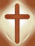 Ξύλινος καφετής περίκομψος σταυρός ξύλων καρυδιάς με την καφετιά μορφή καθεδρικών ναών και το μπεζ χριστιανικό σύμβολο υποβάθρου  στοκ φωτογραφία με δικαίωμα ελεύθερης χρήσης