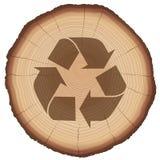 Ξύλινος κορμός δέντρων συμβόλων ανακύκλωσης ελεύθερη απεικόνιση δικαιώματος