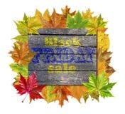 Ξύλινος κύβος με τα φύλλα φθινοπώρου γύρω και τη μαύρη πώληση Παρασκευής λέξης Στοκ Εικόνες