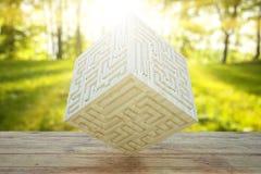 Ξύλινος κύβος με το χαραγμένο λαβύρινθο απεικόνιση αποθεμάτων