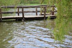 Ξύλινος κλάδος γεφυρών και ιτιών στοκ φωτογραφία με δικαίωμα ελεύθερης χρήσης