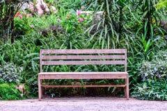 Ξύλινος πάγκος μεταξύ του κήπου λουλουδιών στοκ φωτογραφία με δικαίωμα ελεύθερης χρήσης