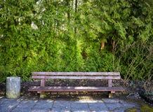 Ξύλινος πάγκος σε ένα πάρκο Στοκ εικόνα με δικαίωμα ελεύθερης χρήσης