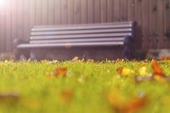 Ξύλινος πάγκος στο χορτοτάπητα Στοκ εικόνες με δικαίωμα ελεύθερης χρήσης
