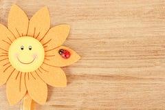 Ξύλινος πίνακας για το μήνυμα άνοιξη με τα λουλούδια Στοκ Φωτογραφία