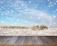 Ξύλινος πίνακας σε ένα υπόβαθρο του χειμερινού τοπίου Στοκ φωτογραφίες με δικαίωμα ελεύθερης χρήσης