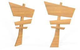 Ξύλινος πίνακας σημαδιών ύφους κινούμενων σχεδίων από τη δευτερεύουσα και μπροστινή άποψη Στοκ Φωτογραφία