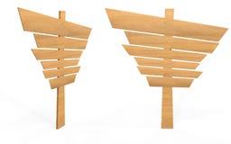 Ξύλινος πίνακας σημαδιών ύφους κινούμενων σχεδίων από τη δευτερεύουσα και μπροστινή άποψη Στοκ φωτογραφία με δικαίωμα ελεύθερης χρήσης