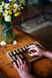 Ξύλινος παλαιός υπολογιστής Στοκ φωτογραφία με δικαίωμα ελεύθερης χρήσης