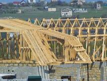 Ξύλινος σκελετός της στέγης της κατασκευής σπιτιών Στοκ Φωτογραφία