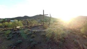 Ξύλινος σταυρός σε έναν λόφο στο ηλιοβασίλεμα ερήμων απόθεμα βίντεο
