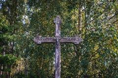 Ξύλινος σταυρός στην Πολωνία Στοκ Εικόνες