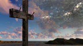 Ξύλινος σταυρός στο φουτουριστικό κλίμα Στοκ Φωτογραφία