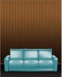 Ξύλινος τοίχος και μπλε καναπές στο μέτωπο - διανυσματική απεικόνιση Στοκ Εικόνες