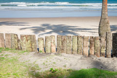 Ξύλινος φράκτης κορμών φοινίκων στην παραλία Στοκ φωτογραφία με δικαίωμα ελεύθερης χρήσης