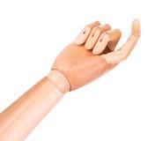 Ξύλινο δάχτυλο που δείχνει ή σχετικά με Στοκ Εικόνες