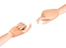 Ξύλινο δάχτυλο που δείχνει ή σχετικά με Στοκ Εικόνα